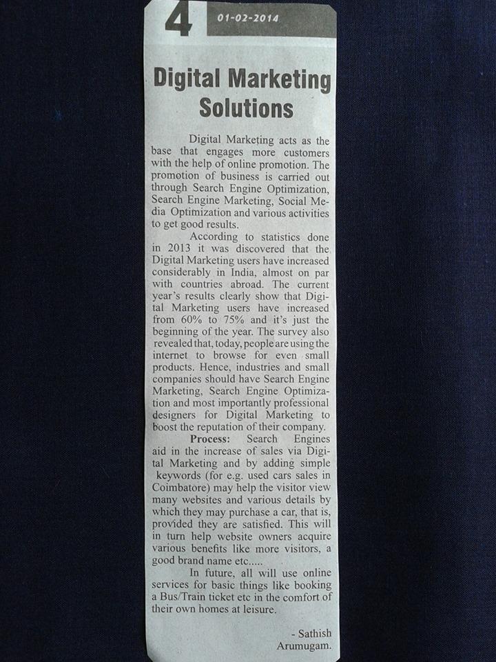 Sathish Arumugam Blogging Newspaper 2