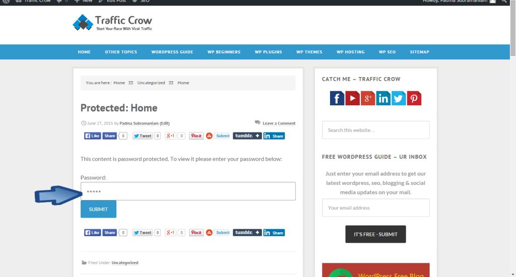 WordPress Post To Stick In Front Page, Password Protect & Private