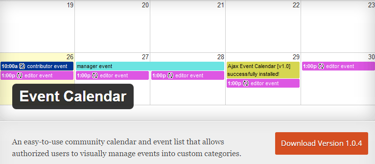 Free WordPress Event Calendar plugin 5