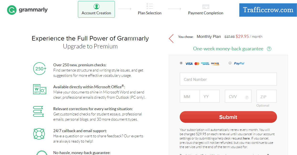 Price Per Month Grammarly