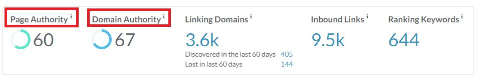 MOZ Domain SEO Metrics