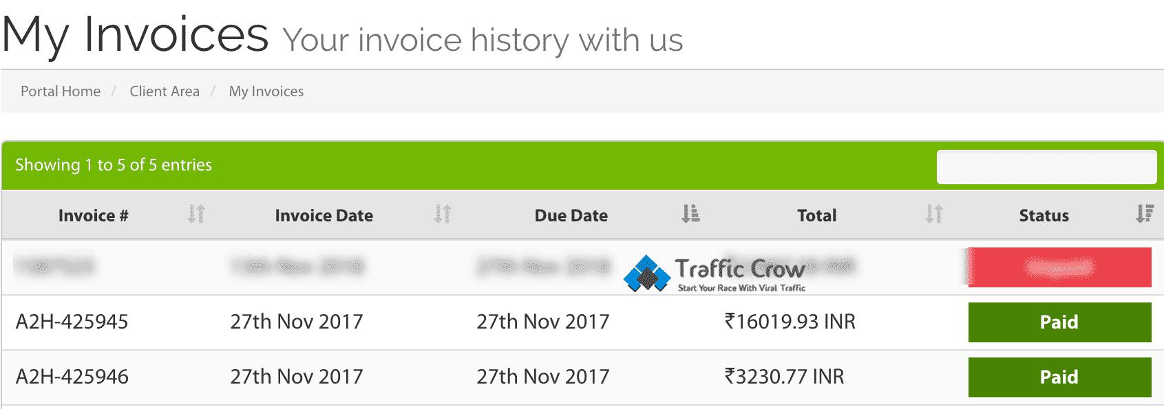 A2 Hosting Invoice