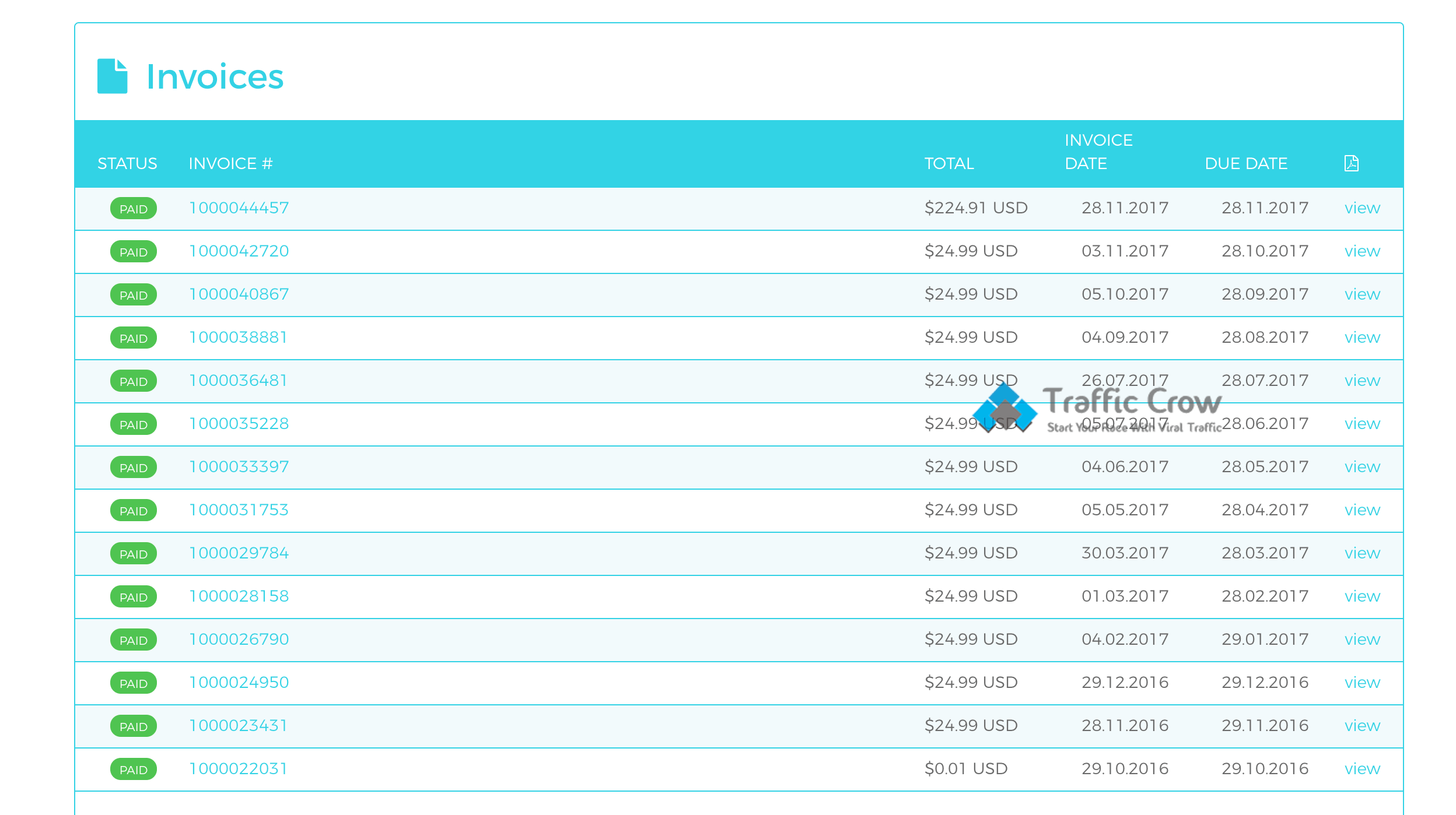 WPX Hosting Invoice