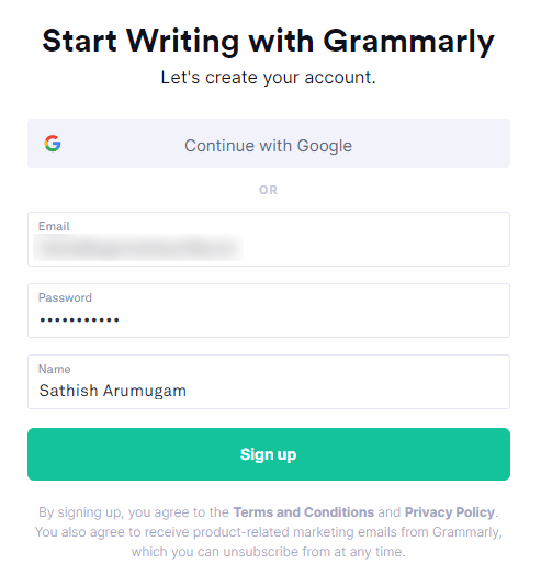 Grammarly Sign-up