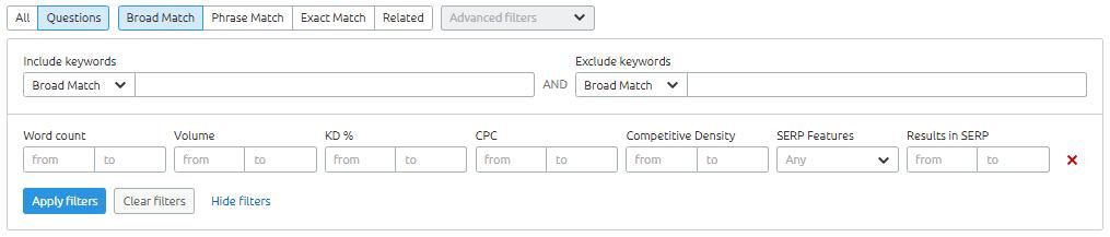 SEMRush Filter Options