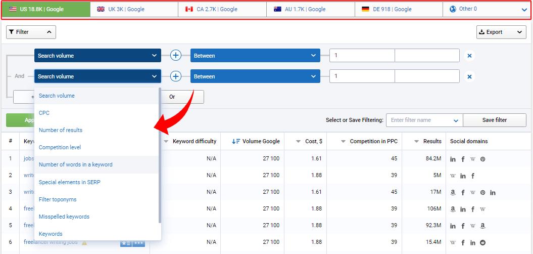 Serpstat Filtering Options